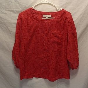 Loft Red W/Black Poke a dot top